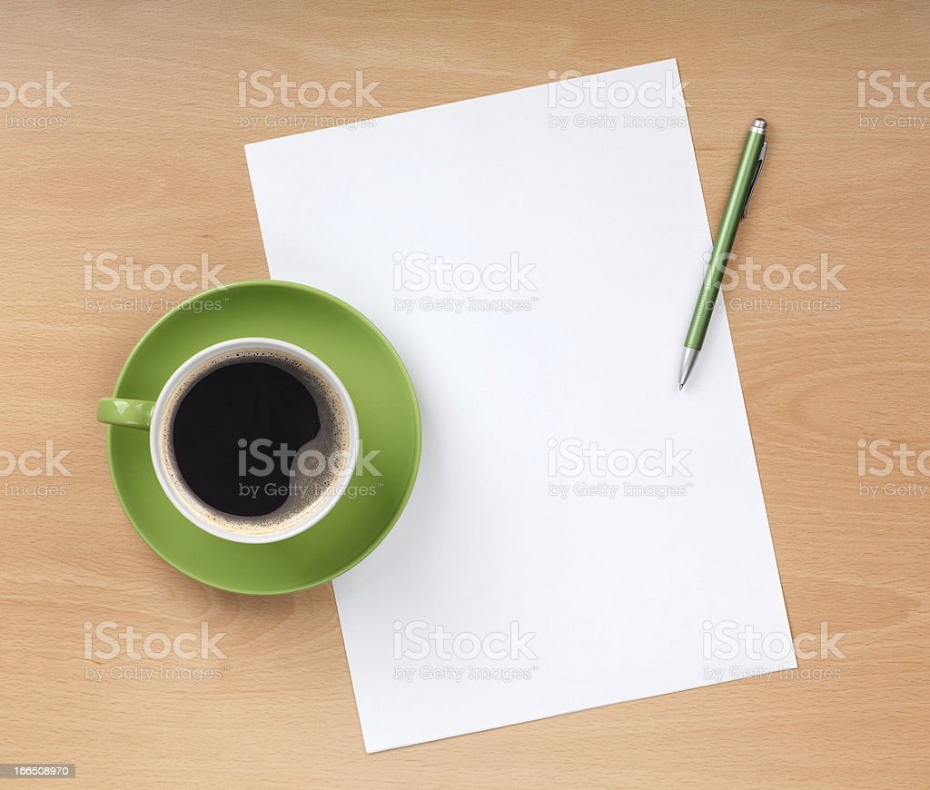 Blank paper with pen and coffee cup royalty-free stock photo