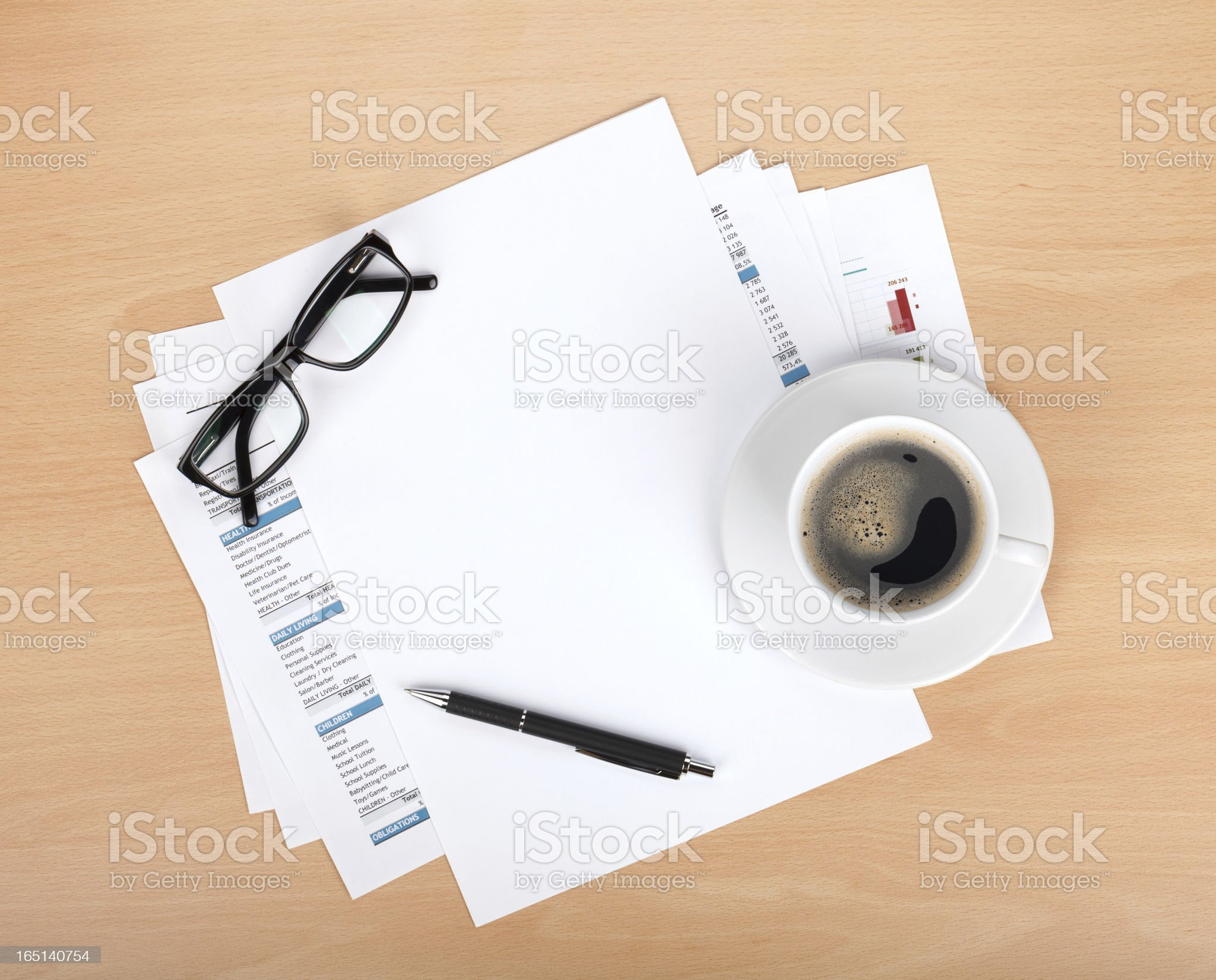 Blank paper with pen, glasses and coffee cup royalty-free stock photo