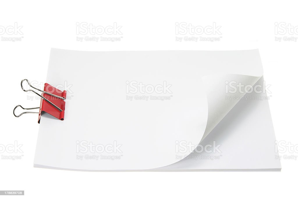Blank Papers with Paper Clip royalty-free stock photo