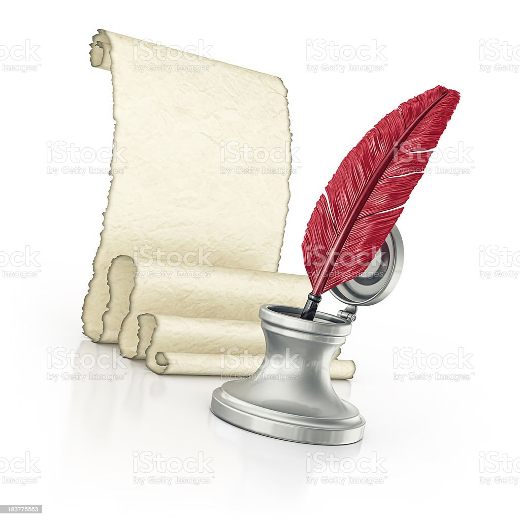 blank parchment and quill pen royalty-free stock photo