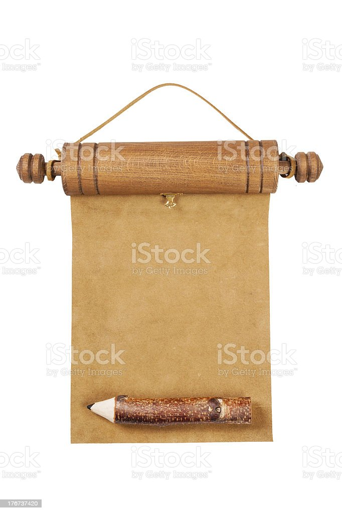 Blank parchment manuscript and pencil royalty-free stock photo