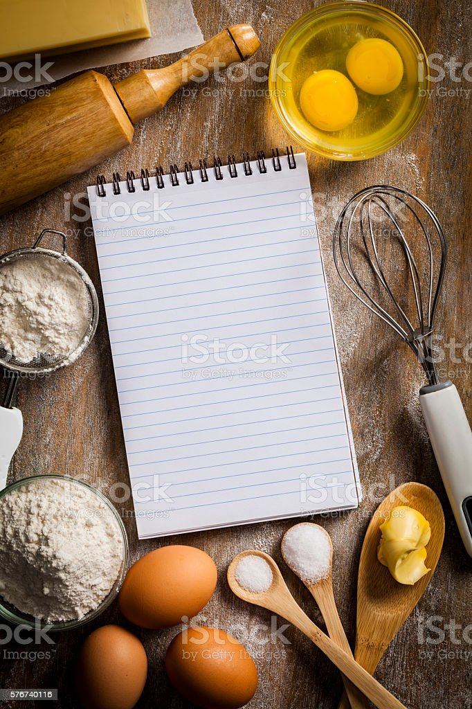 Blank pastry recipe notebook stock photo