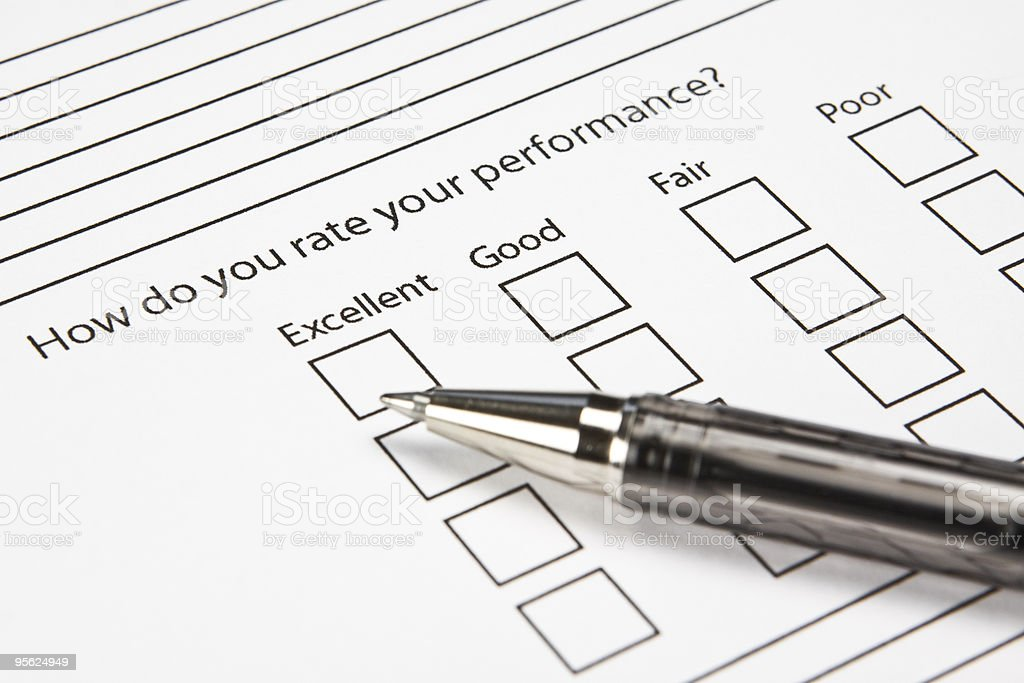 Blank Performance Survey royalty-free stock photo