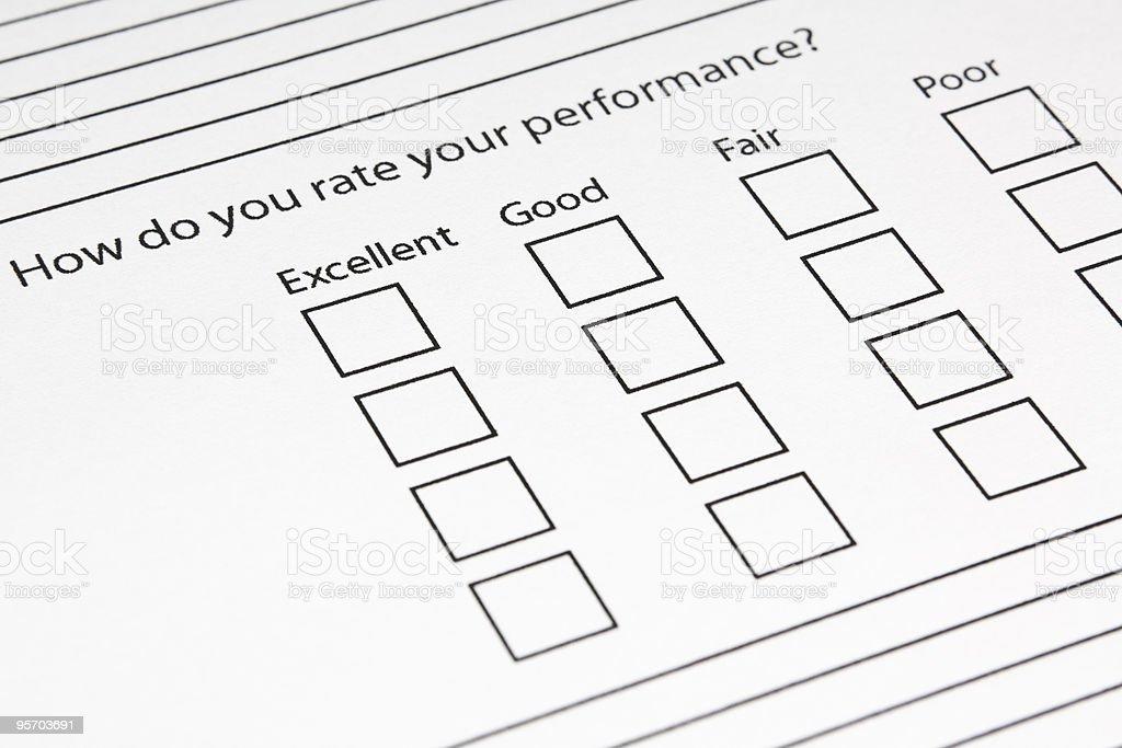 Blank Performance Survey royalty-free stock photo