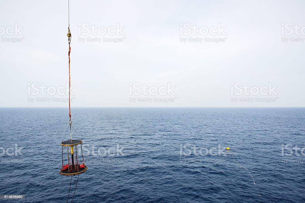 Blank personnel basket with the ocean stock photo
