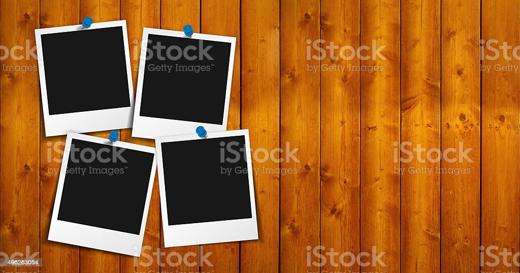 Blank Photo Frame On Wood stock photo