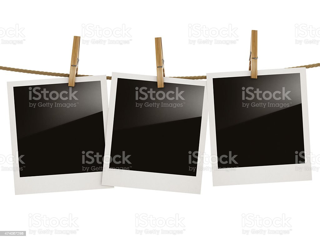 Blank photo frames with reflection isolated on white stock photo