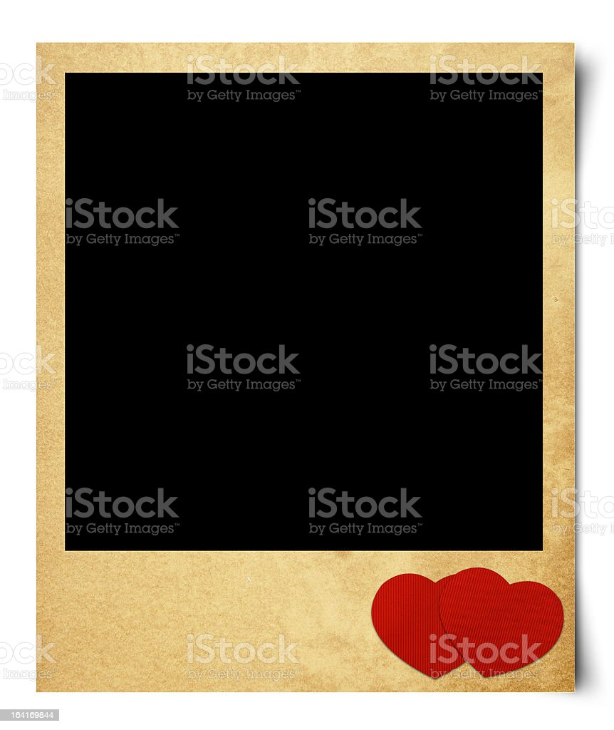Blank photo isolated  valentine background.Vintage style royalty-free stock photo
