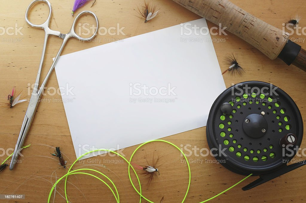 Blank photo on fly tying table stock photo