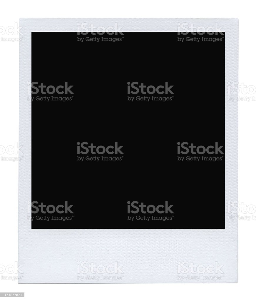 Blank photo on white (authentic polaroid with lots of details) stock photo