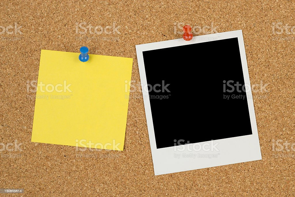 Blank Photo Paper and Yellow Sticky Note royalty-free stock photo