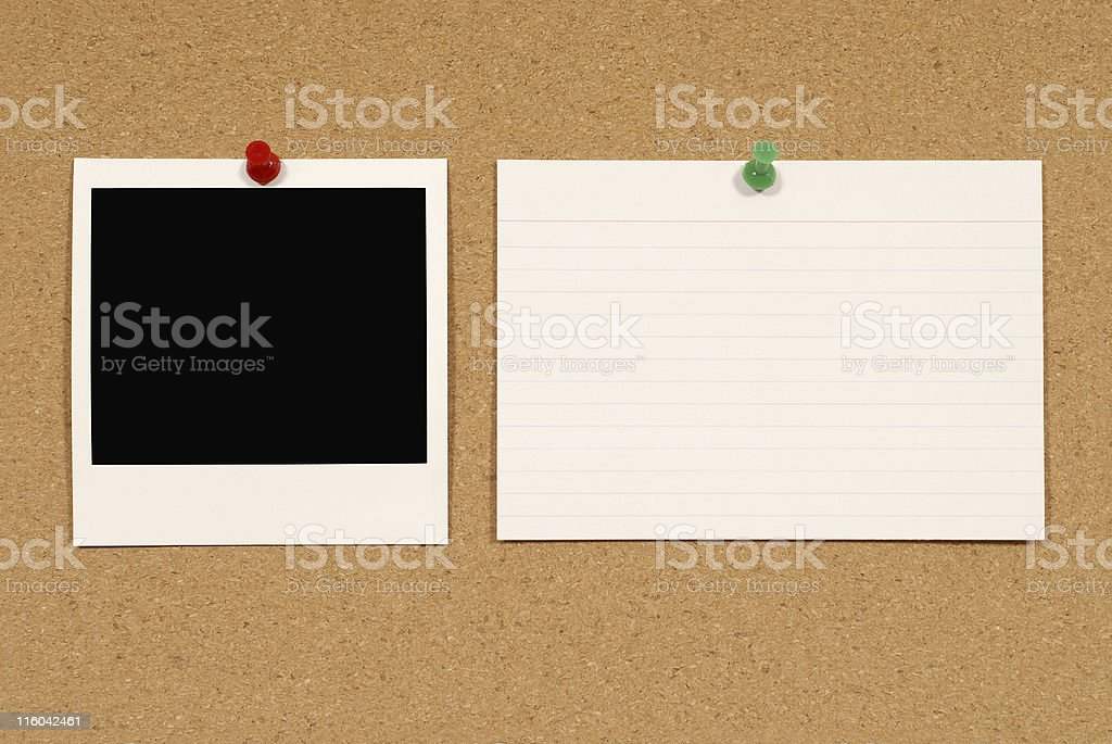 Blank photo print with index card on cork royalty-free stock photo