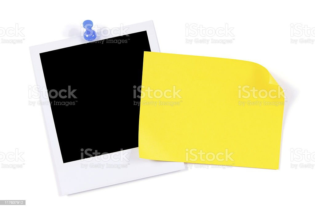 Blank photo print with yellow sticky note royalty-free stock photo