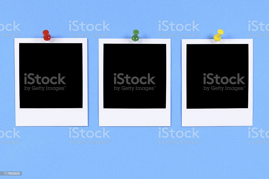 Blank photo prints with blue background (XL) royalty-free stock photo