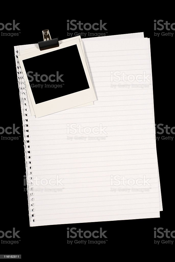 Blank photo prints with lined paper royalty-free stock photo