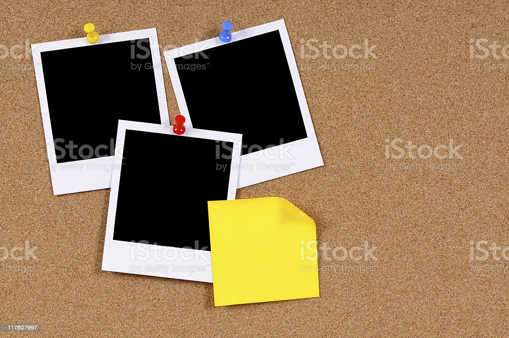 Blank photo prints with sticky note royalty-free stock photo