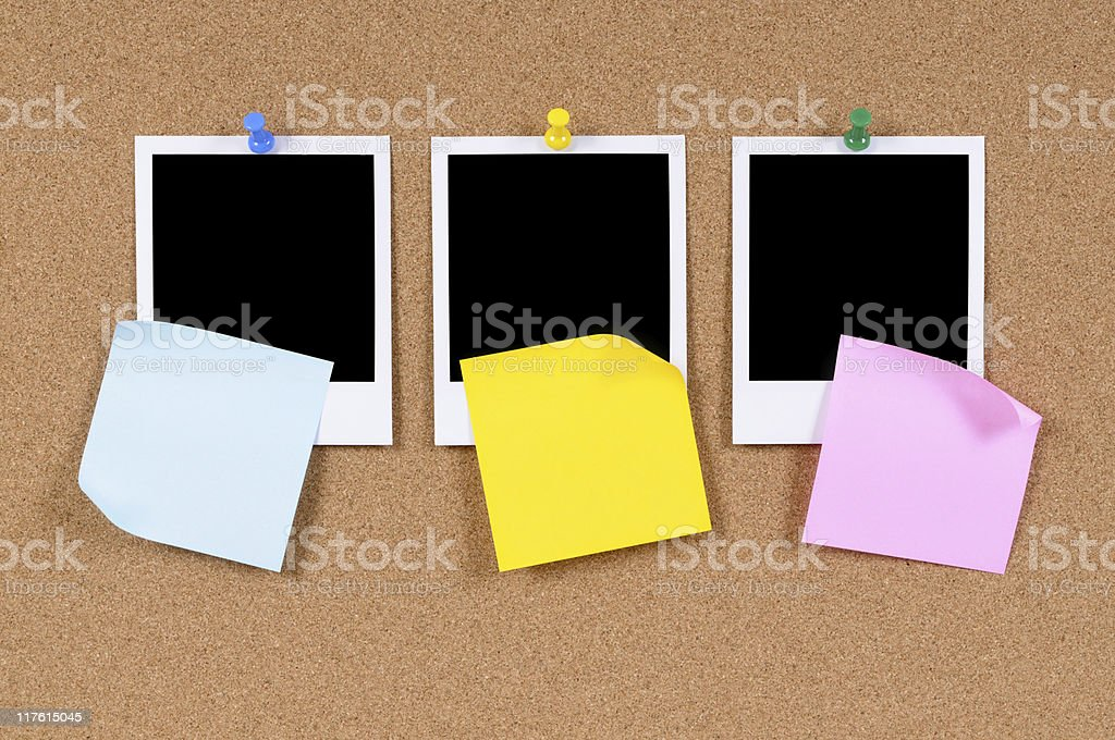 Blank photo prints with sticky notes royalty-free stock photo