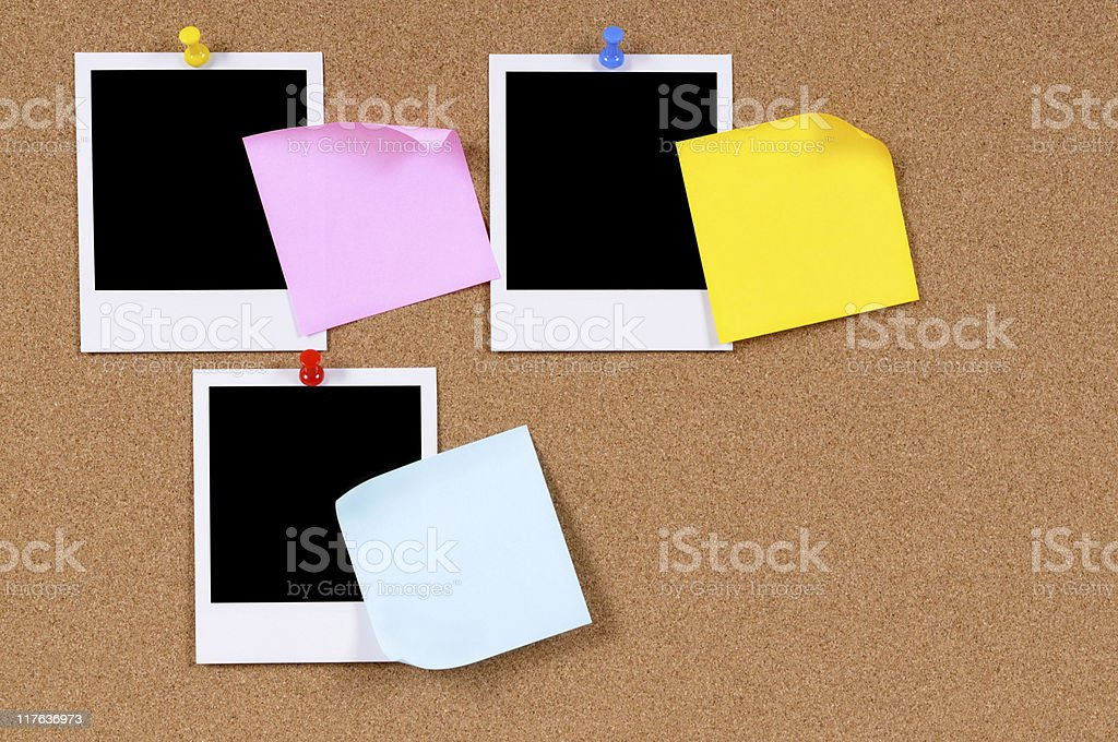Blank photo prints with sticky notes stock photo