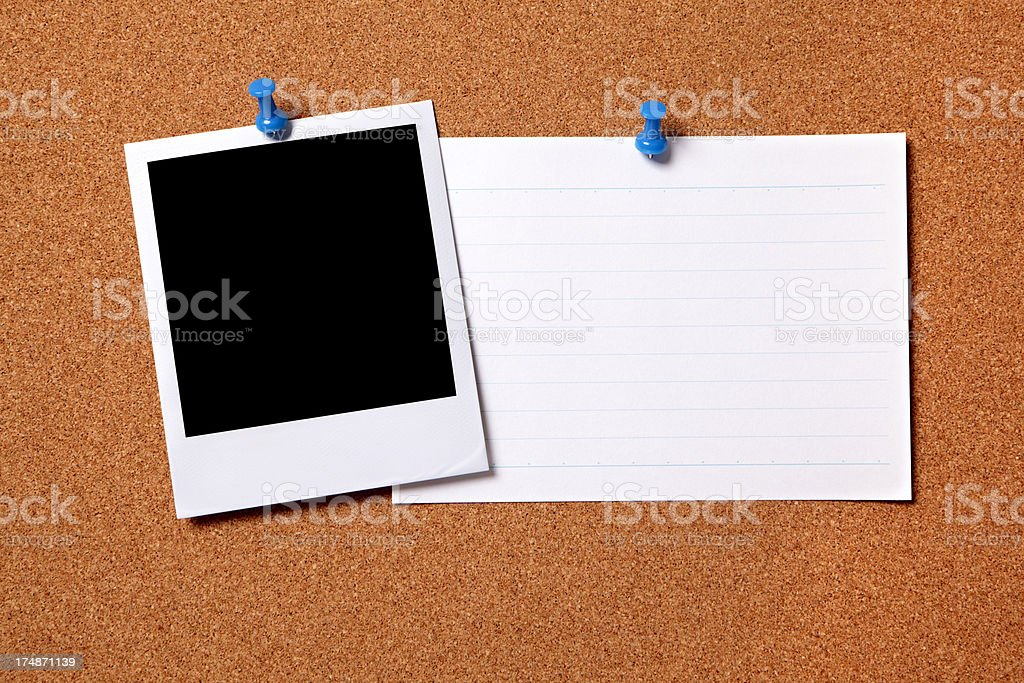 Blank photo with index card royalty-free stock photo