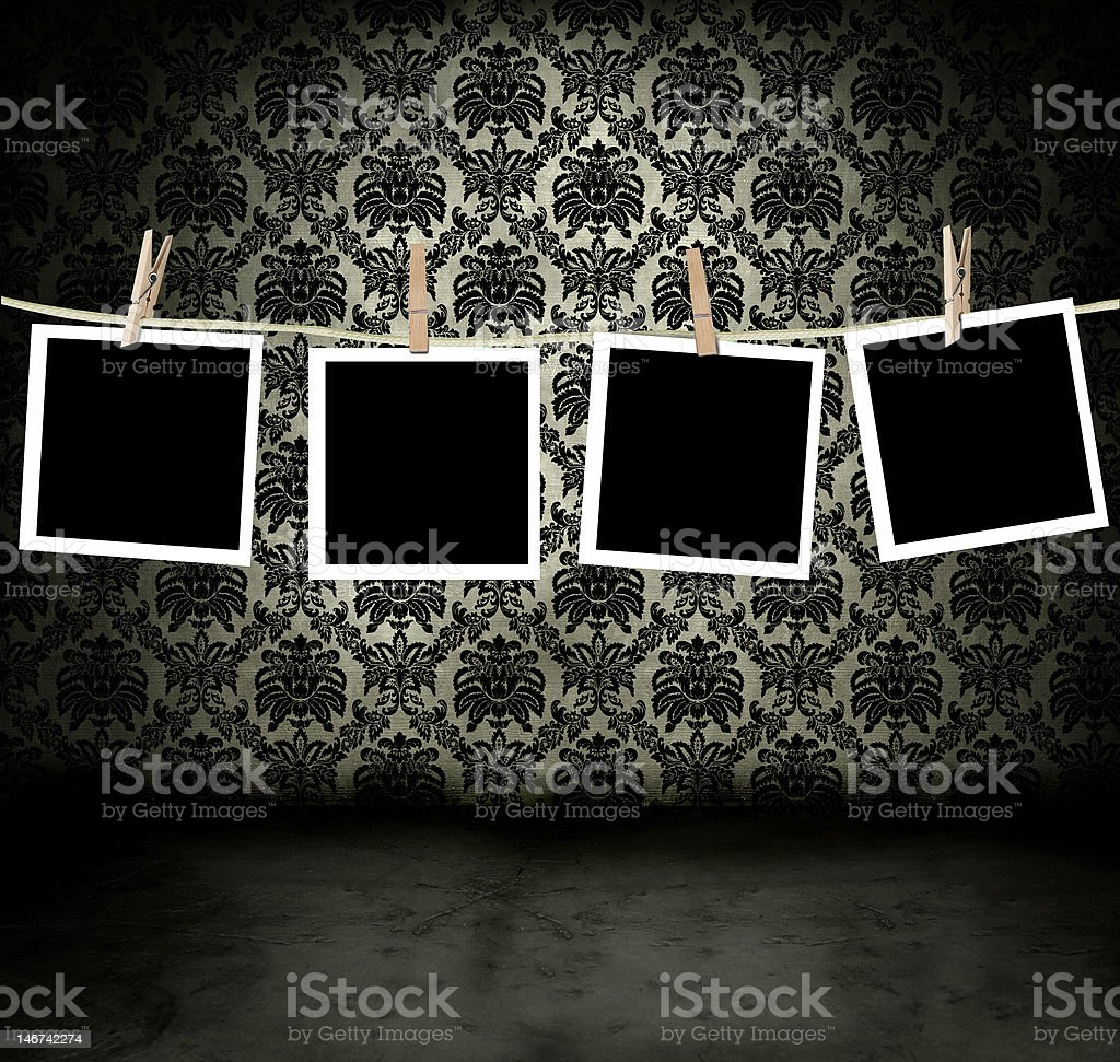 Blank photos hanging royalty-free stock photo