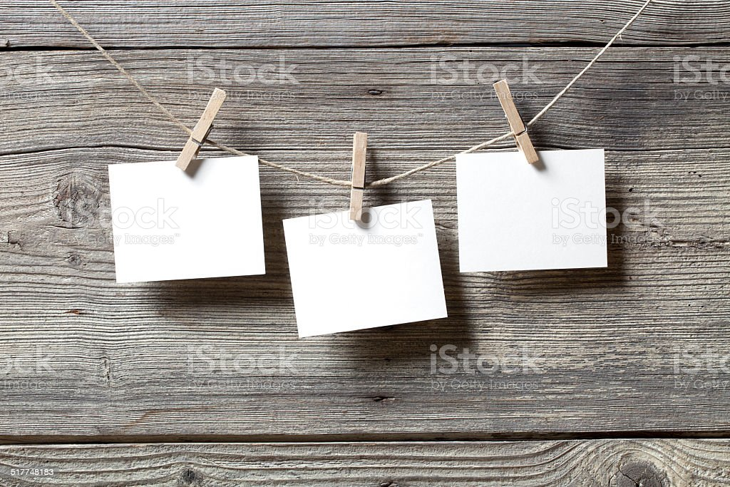 Blank photos hanging stock photo