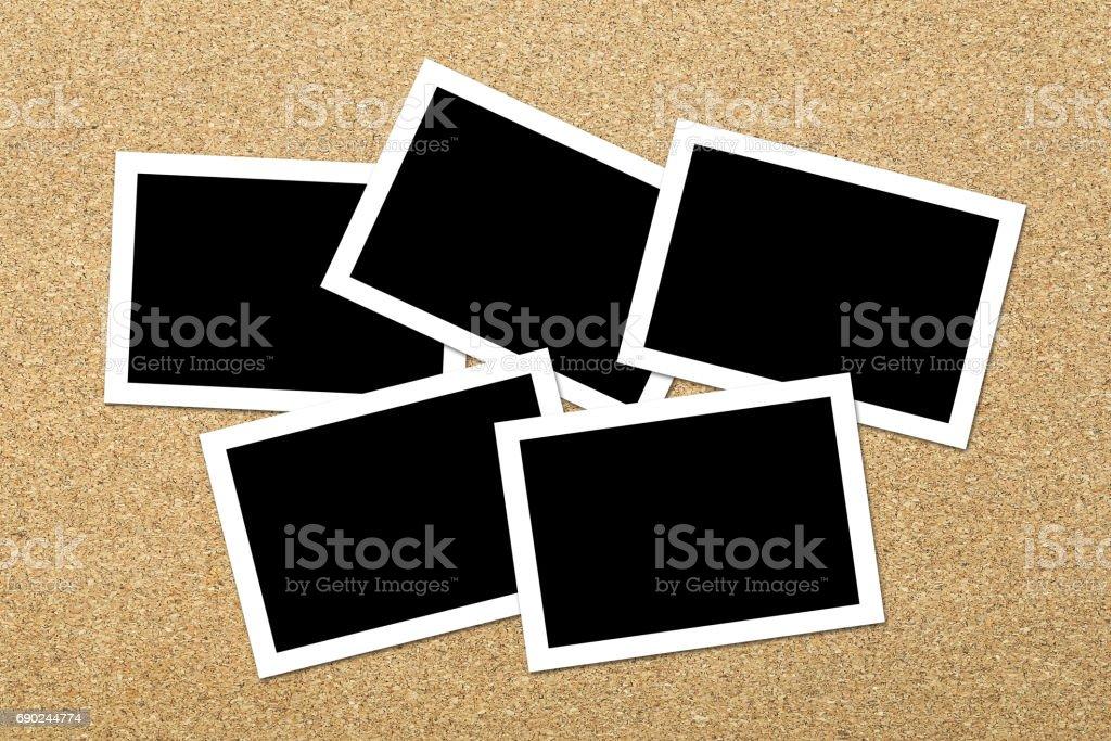 Blank photos on Corkboard stock photo