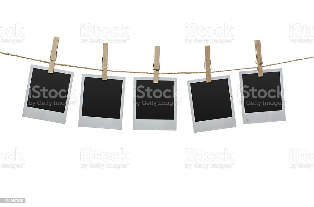 Blank photos on the clothesline stock photo