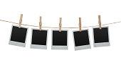 Blank photos on the clothesline