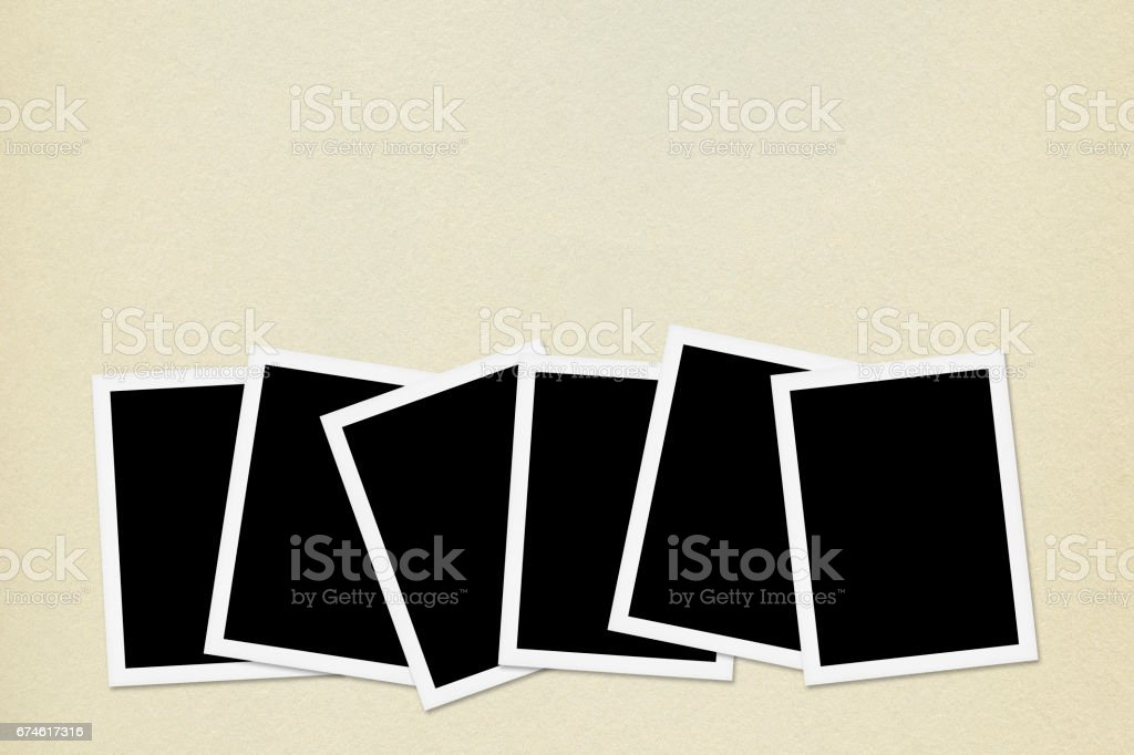 Blank photos on Vintage Paper Background stock photo
