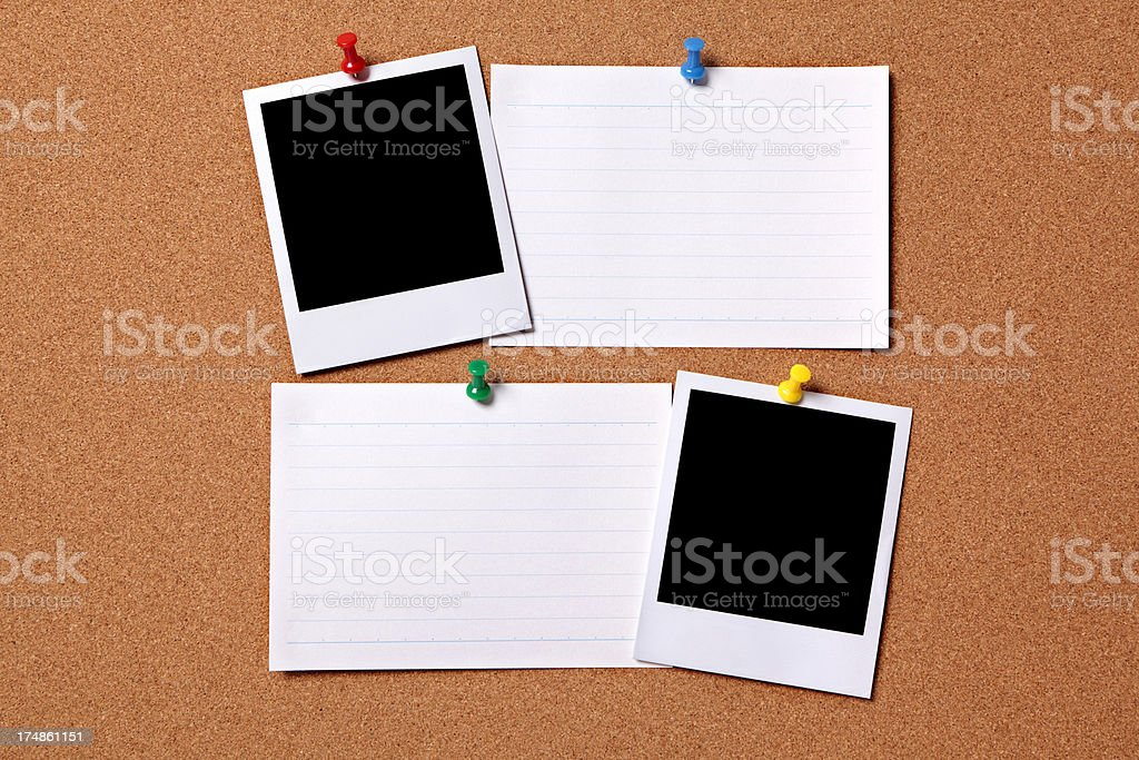 Blank photos with index cards royalty-free stock photo