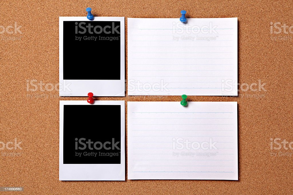 Blank photos with note cards royalty-free stock photo