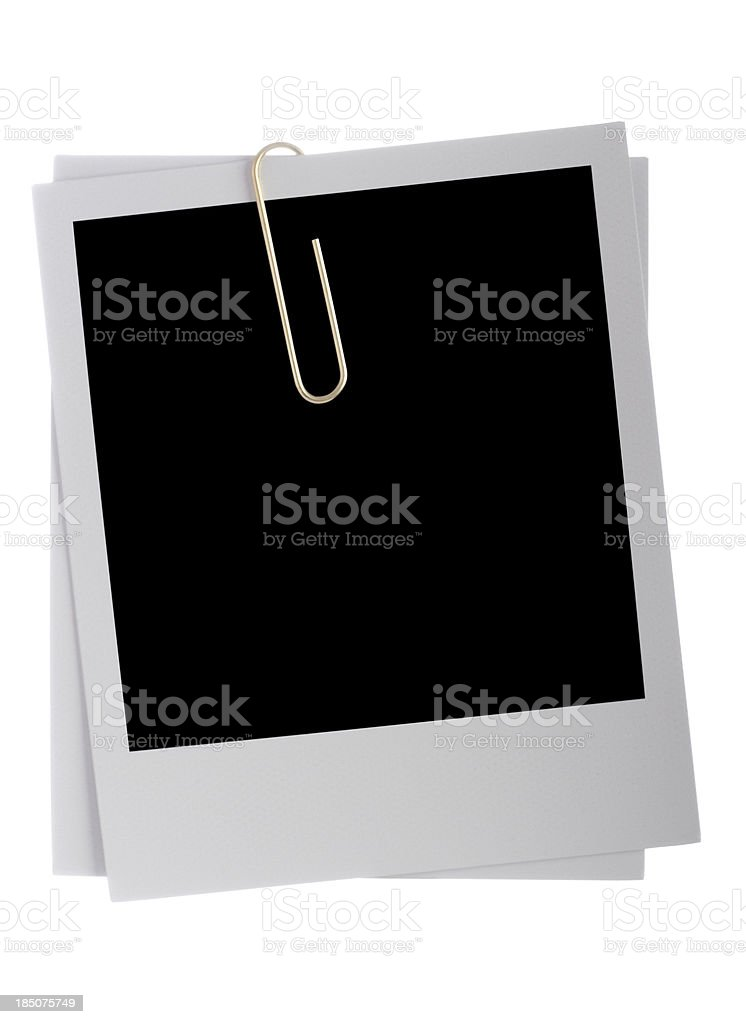 Blank photos with paper clip and paths stock photo