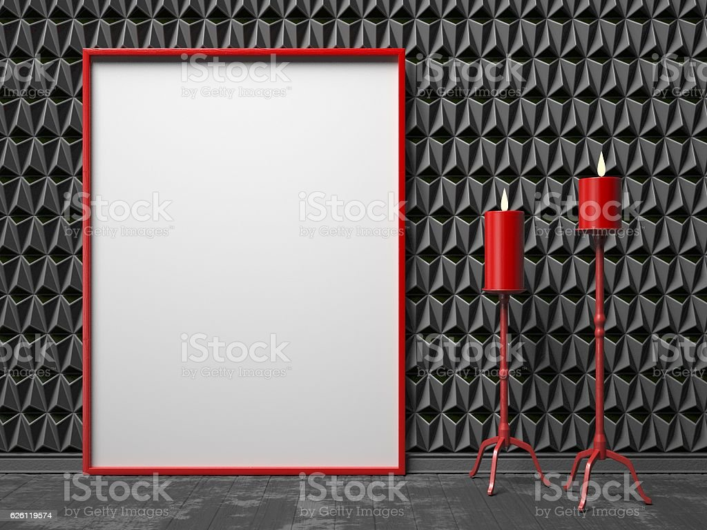 Blank picture frame and two red candlestick on black triangulate stock photo