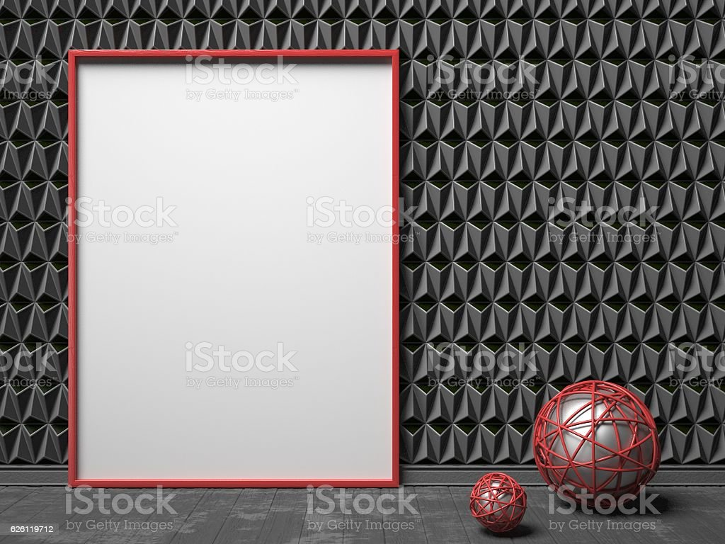 Blank picture frame on black triangulated background. Mock up stock photo