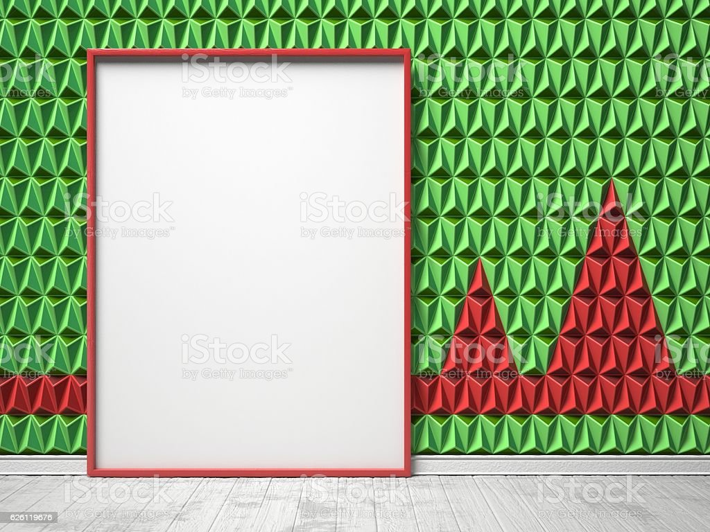 Blank picture frame on green and red triangulated background. Mo stock photo