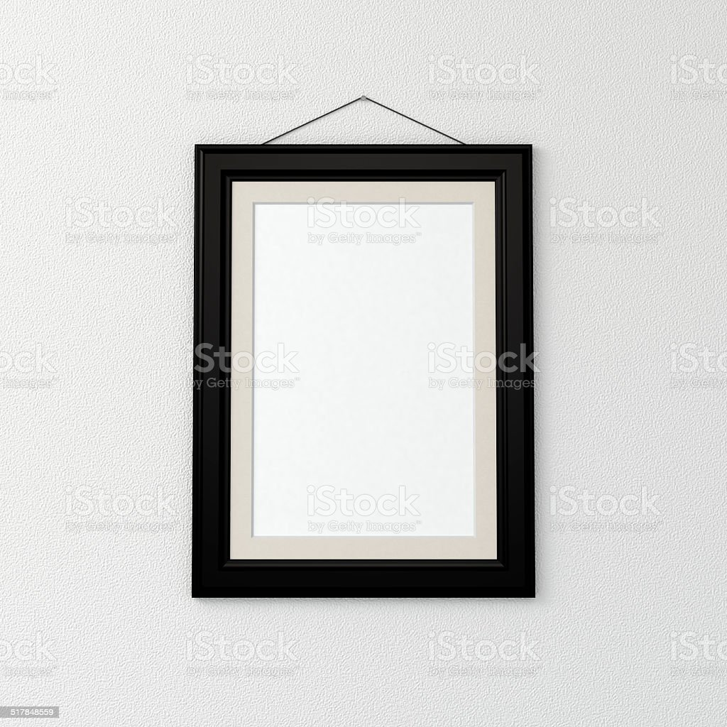 blank picture frame on wall vector art illustration