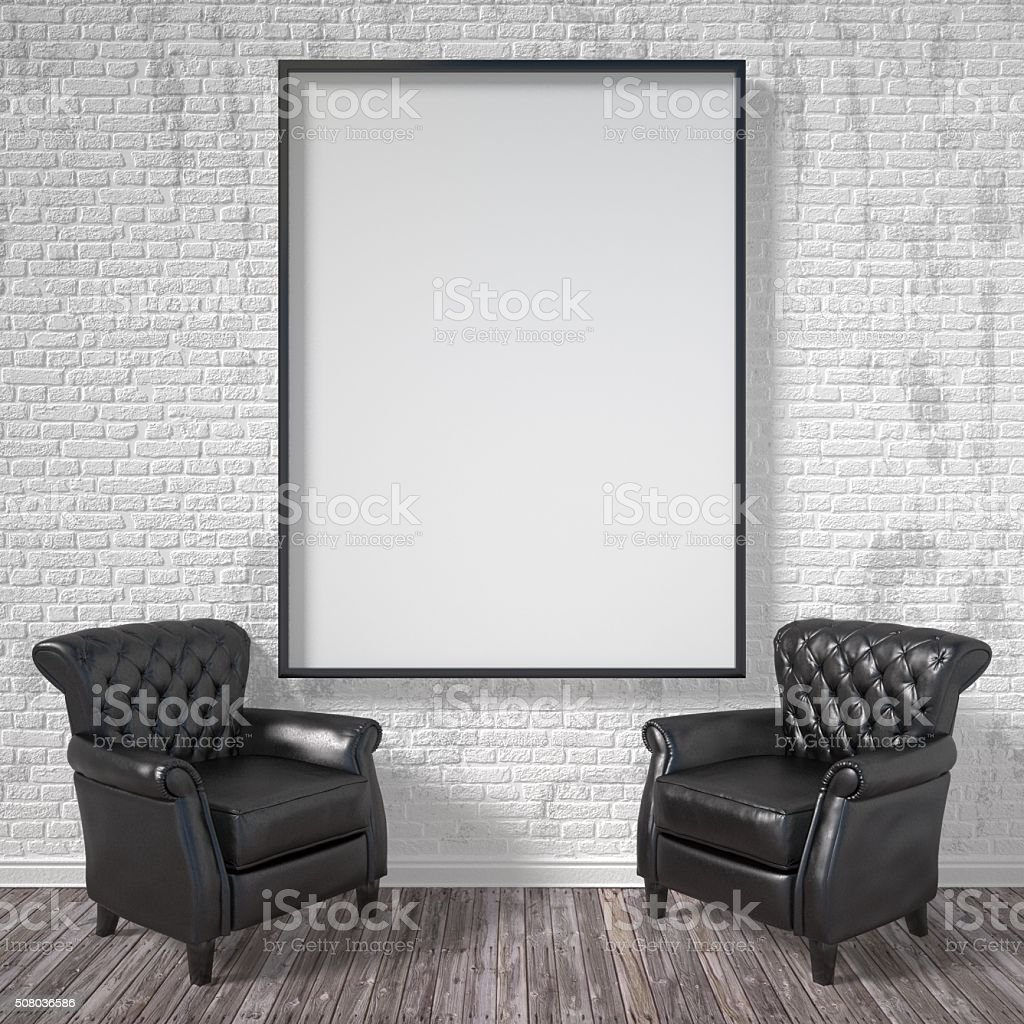 Blank picture frame with black armchairs. Mock up poster. 3D stock photo