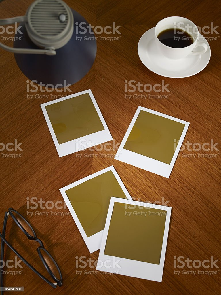 Blank Picture Frames On Desk stock photo