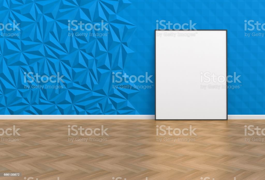 Blank picture in a blue room, 3D rendering stock photo