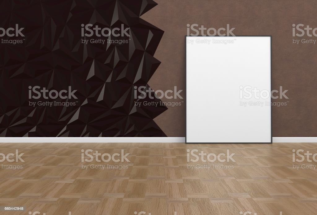 Blank picture in a brown room, 3D rendering stock photo