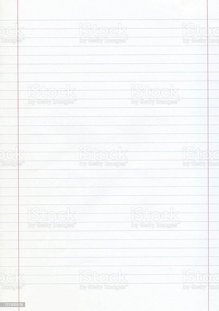 Blank piece of lined paper with red margins stock photo