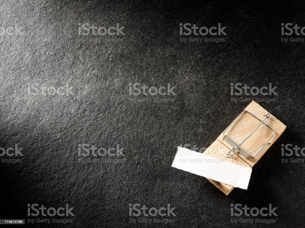 Blank Piece of Paper in a Mousetrap royalty-free stock photo