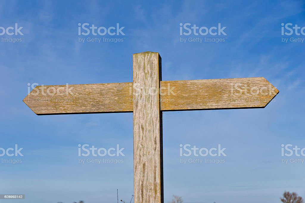Blank plain wooden double signpost footpath sign stock photo