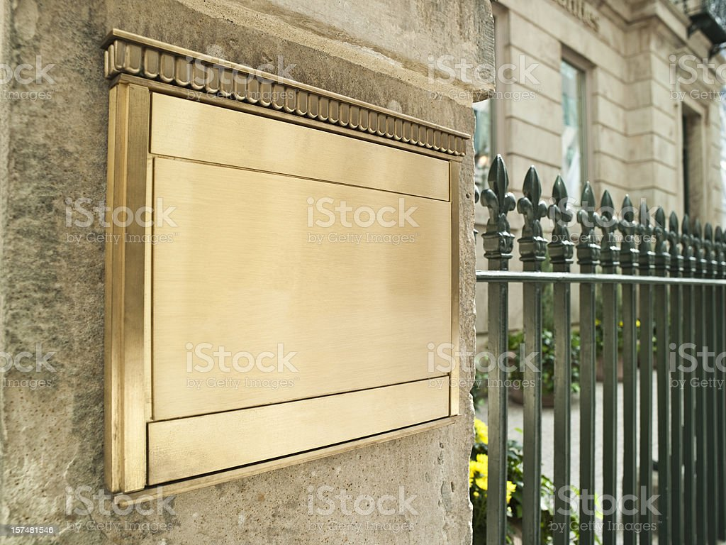 Blank plaque on an important building royalty-free stock photo