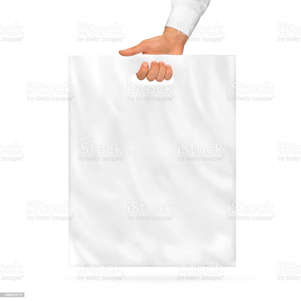 Blank plastic bag mock up holding in hand. stock photo
