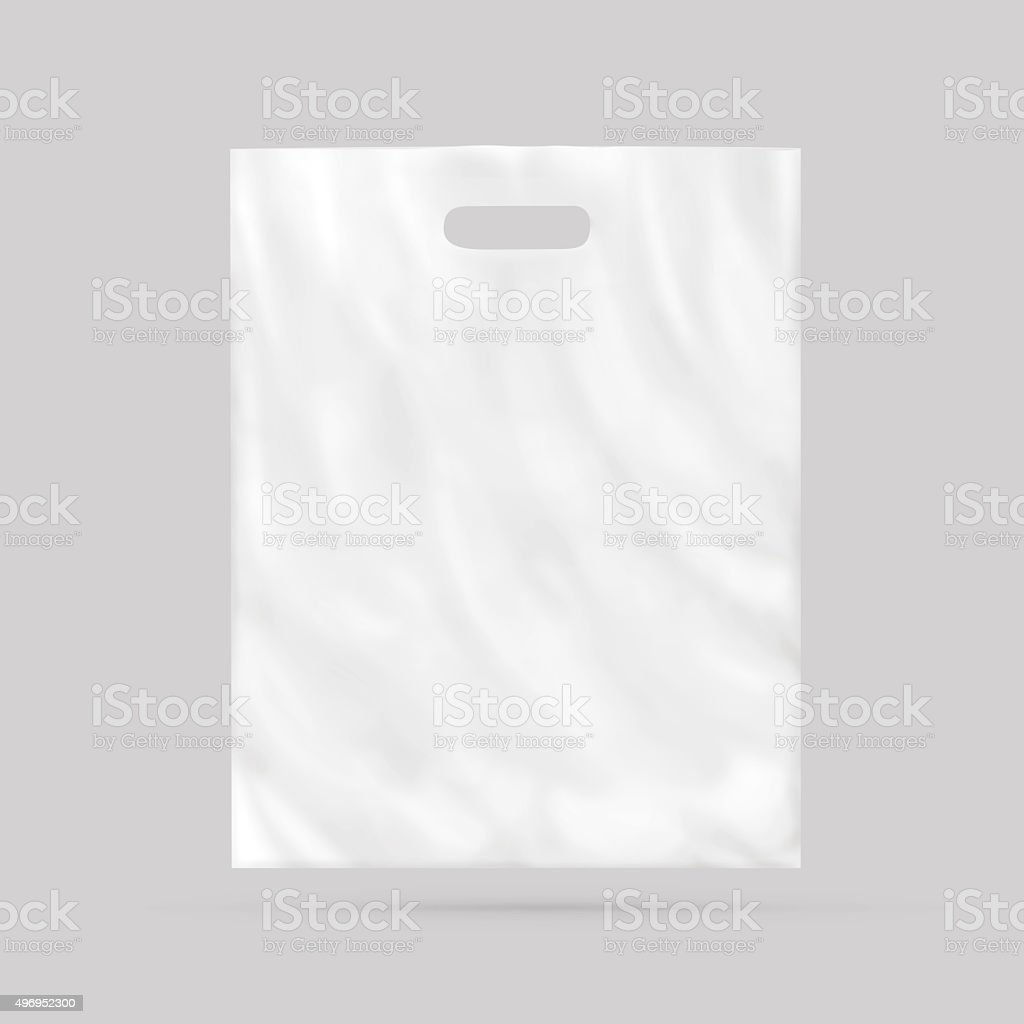 Blank plastic bag mock up isolated. stock photo