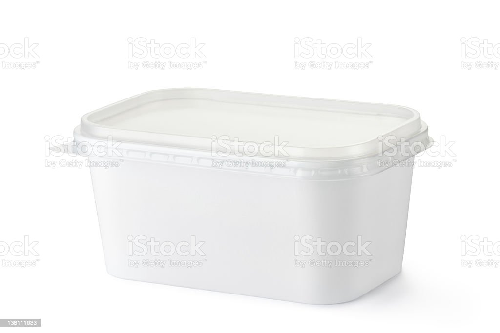 Blank plastic container for food on white background stock photo