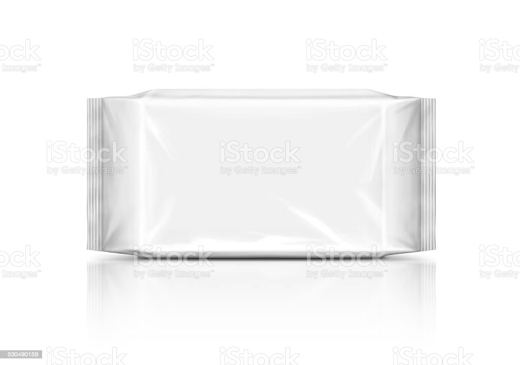 blank plastic wipes pouch isolated on white background stock photo