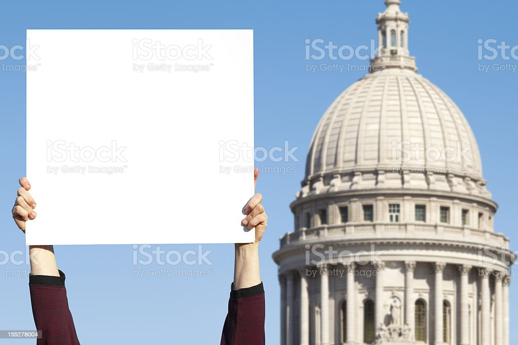 Blank Political Sign by Capitol royalty-free stock photo