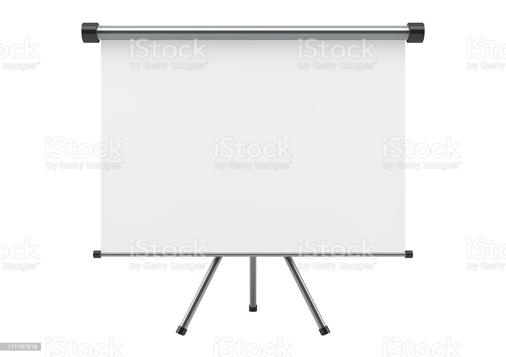 Blank portable projection scree isolated on white  stock photo